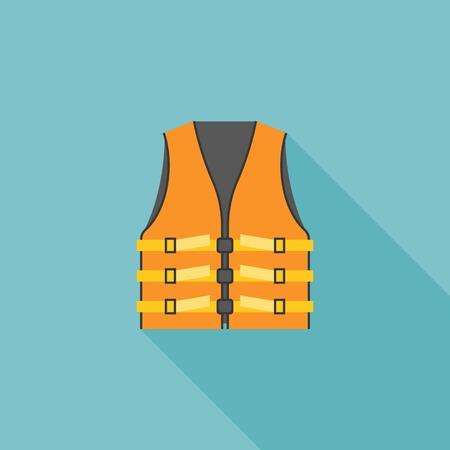 life vest icon, orange adult life vest jacket illustration vector, flat design