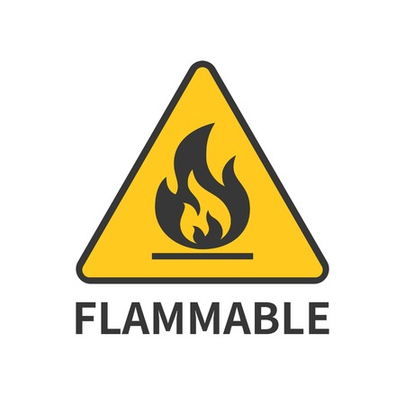 burnable: flammable sign icon in yellow triangle, flat design symbol Illustration