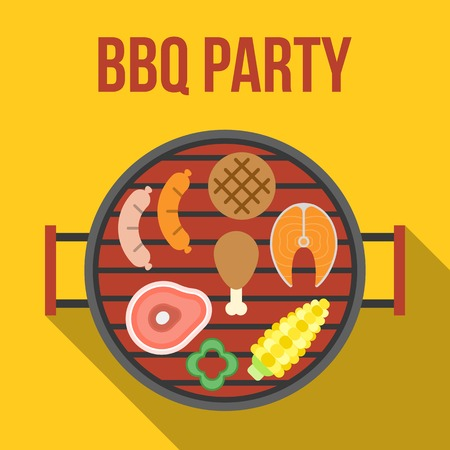 spare ribs: Vector barbecue party, flat design Illustration