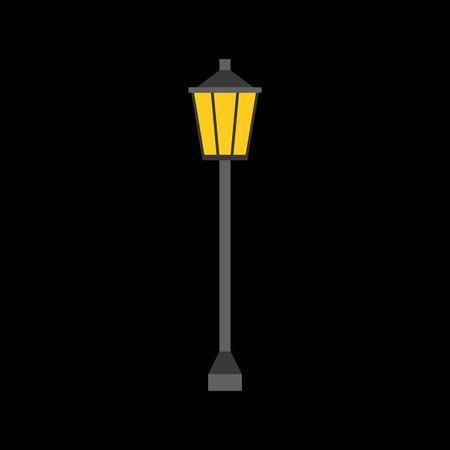 lamp post: Vertor Lamp post icon, flat design Illustration
