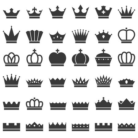 royal person: Vector crowns icons set