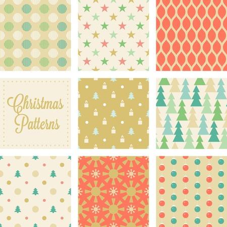 background designs: Christmas seamless pattern in vintage style, christmas tree, pine, sun, polka dot, net,  stars, christmas ball