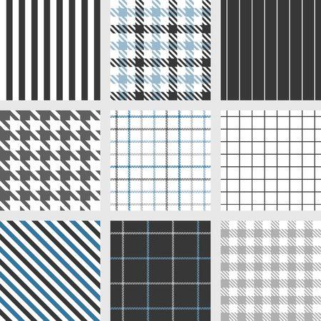 houndstooth: pinstripe, windowpane,bengal stripe, graph check, houndstooth, shepherds check, tattersall seamless pattern vector Illustration