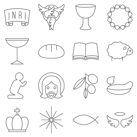 Christian and christmas thin line icon set include christian symbols such as fish, thorn, star of bethelehem Illustration