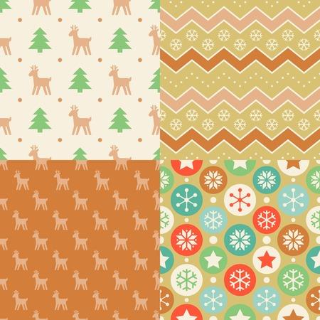 Seamless Pattern Wallpaper Of Christmas Tree Ball Reindeer Zigzag Line Design