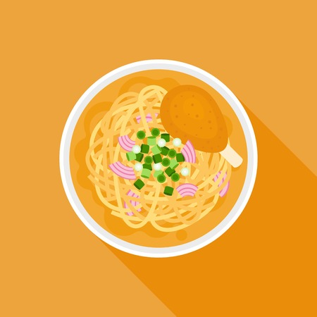 Chiang mai noodle, noodle with chicken in thai local northern style, flat design Illustration