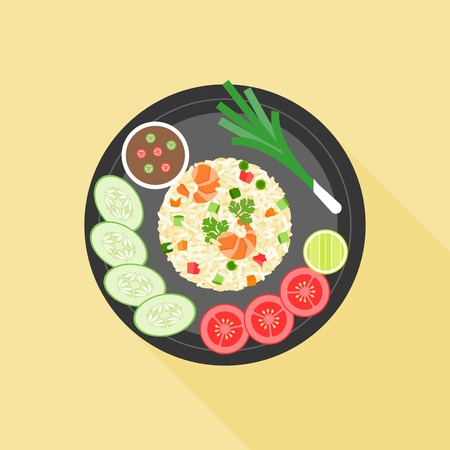 brown rice: Fried rice in thai style, Thai cuisine, flat design
