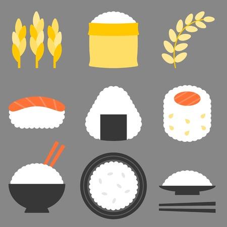 jasmine rice: rice icon, flat design icon