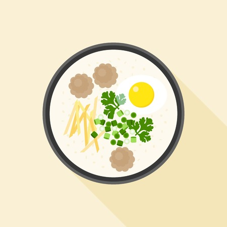 Chinese porridge rice, Hong kong Congee with parboiled egg and minced pork in bowl, asian cuisine, flat design
