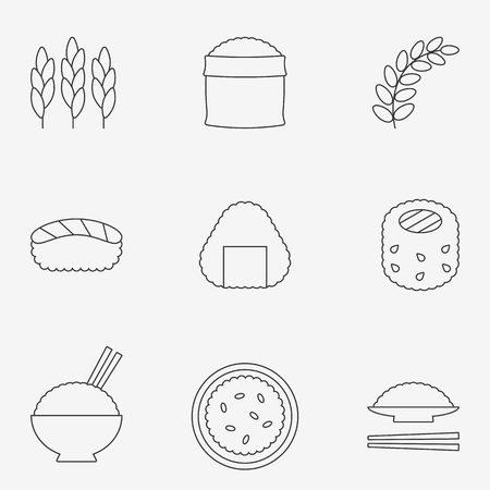 jasmine rice: rice icon, thin line icon Illustration