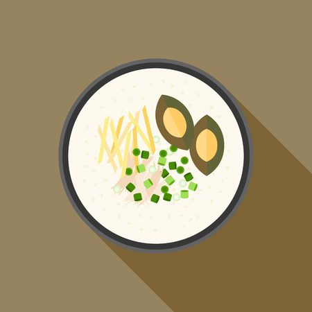 gee: Chinese porridge rice, Hong kong Congee with chicken and preserved egg  in bowl, asian cuisine, flat design