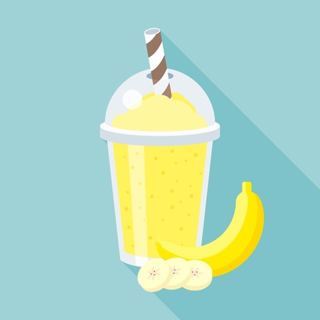 Banana smoothie illustration, flat design with long shadow Иллюстрация