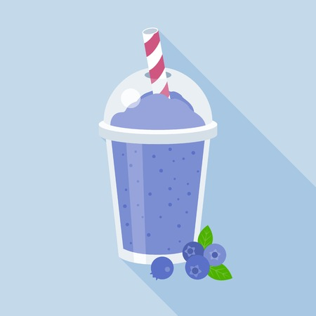 blueberries smoothie illustration, blueberry juice, flat design with long shadow