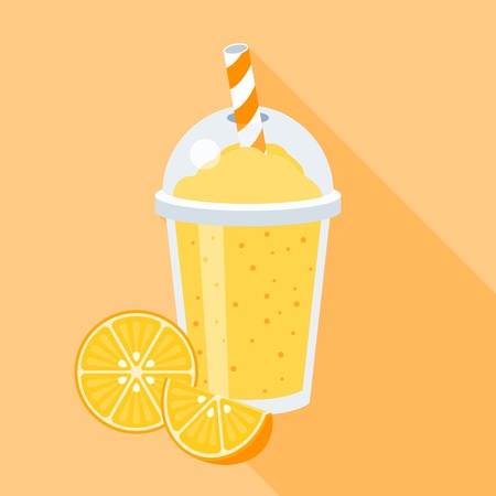 plastic straw: Orange smoothie illustration with fruits, Orange juice in plastic grass with straw, flat design with long shadow