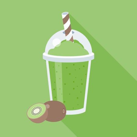 Kiwi smoothie illustration, Kiwi juice, flat design with long shadow Illustration