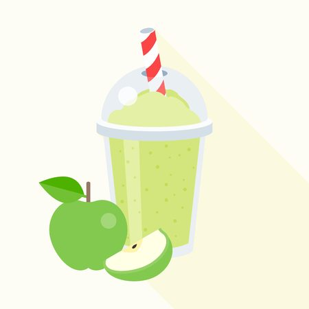 Green apple smoothie illustration, apple juice, flat design with long shadow