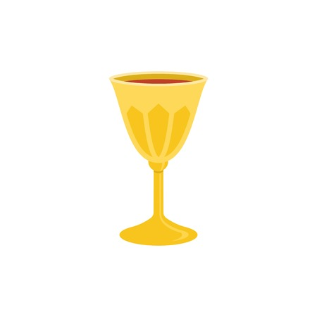 new testament: holy grail icon, chalice with red wine illustration, flat design
