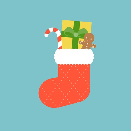 ginger bread: Christmas socks with candy cane, present box and ginger bread, flat design with long shadow