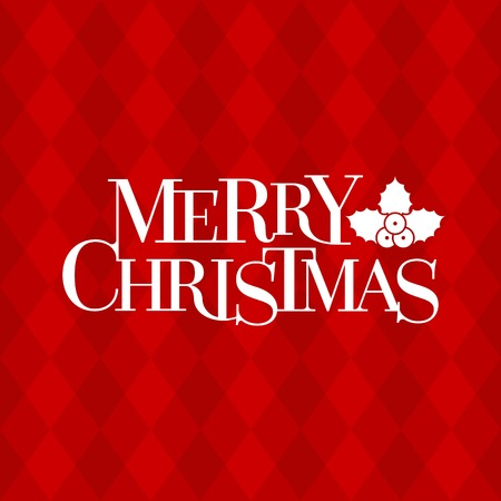argyle: Merry Christmas typographic design poster and mistletoe  on red argyle pattern, retro style, flat design