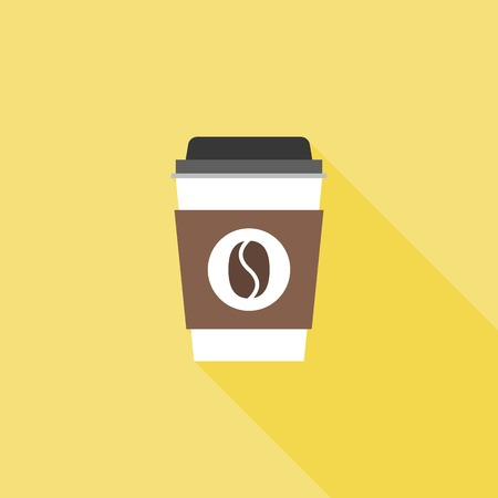 Coffee paper or plastic glass icon with long shadow, flat design