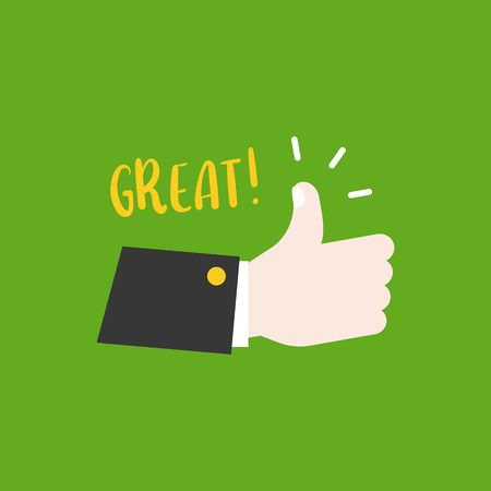 Hand thumps up, great meaning, flat design