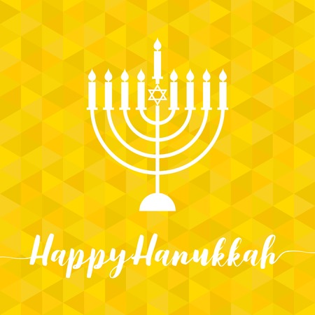 Happy Hanukah calligraphic with menorah, silhouette design with geometric yellow triangle background Illustration