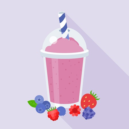 berries smoothie illustration, blueberries, strawberry, raspberries, blackberry, blend fruits juice, flat design with long shadow