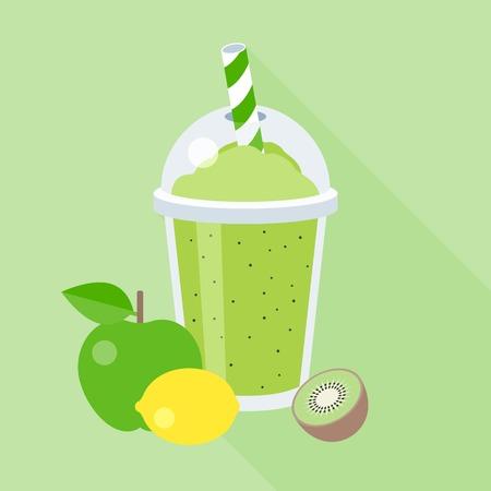 smoothie illustration with fruits, apple, lemon, kiwi, blend fruits juice, flat design with long shadow