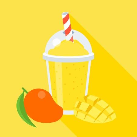 Mango smoothie illustration, with slice mango, flat design with long shadow