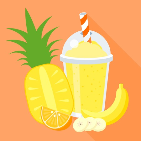 smoothie illustration with fruits, pine apple, banana, orange, flat design with long shadow