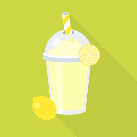 lemonade juice and lemon, flat design with long shadow