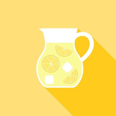 Lemonade Juice jug icon, Flat design illustration