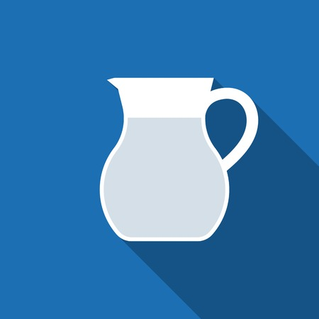Jug glass of water icon ,flat design with long shadow