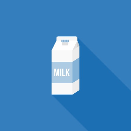 carton de leche: Milk carton paper packaging icon, flat design