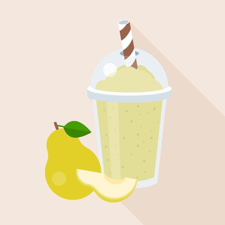 Pear smoothie in plastic glass with ripe fruits,  flat design with long shadow Illustration
