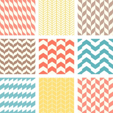 Set of chevron and zigzag seamless pattern