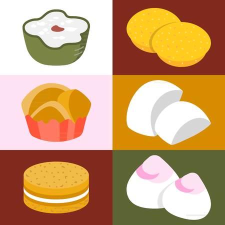 Vector Chinese desserts, flat design