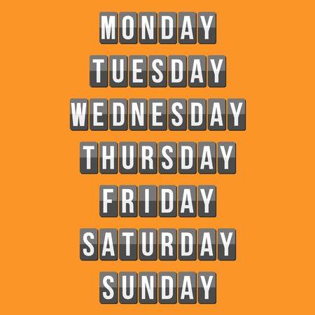 weekly: weekly calendar, mechanical panel letters, flat design