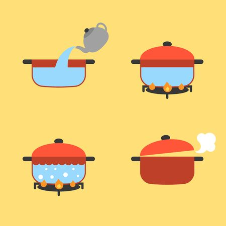 set of info graphic boiling water in pot on fire, flat design