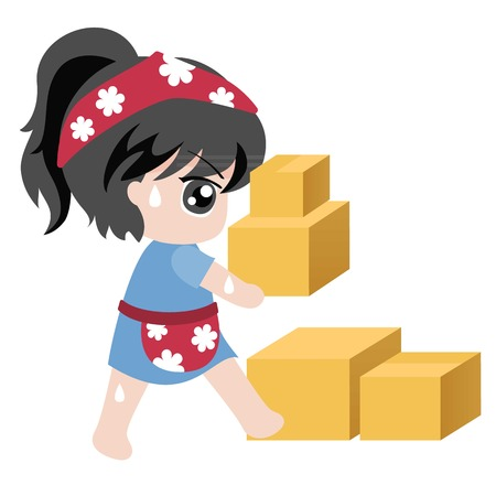 for business, maid holding crate,flat design Illustration
