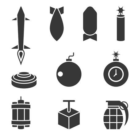 dinamita: bombardero del vector y conjunto de iconos de dinamita