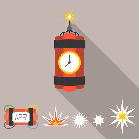 detonating: Vector dynamite icons set, flat design Illustration