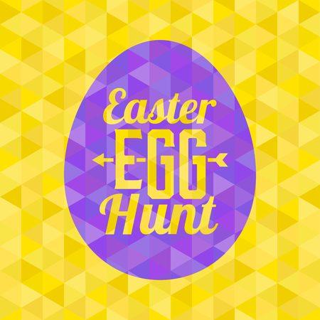 Easter egg hunt  typographical design, flat design