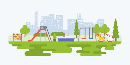 Info graphic and elements of playground equipment for children in urban, flat design vector illustration