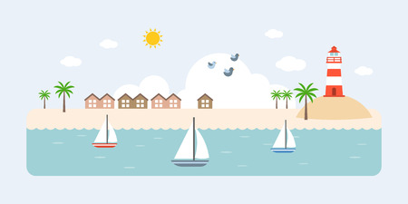 Info graphic and elements of resort, sea, beach and coastal landscapes, flat design vector illustration for travel business