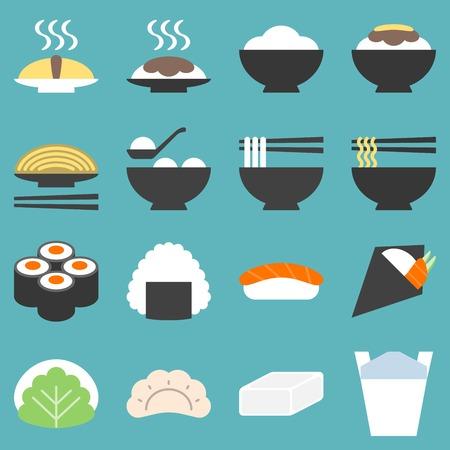 Japan voedsel pictogram, soba, gyoza, yakisoba, sushi, mochi, onigiri, temaki, platte ontwerp Vector Illustratie