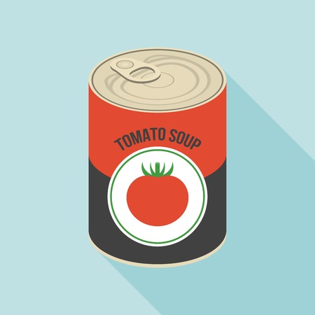 Tomato soup canned, flat design Illustration