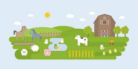 Agriculture and Farming landscape elements, barn, farm animal such as cow, donkey, pig, hen, sheep, flat design
