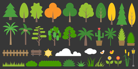 big tree: Big set of graphic info element of forest, plant and tree in flat design, such as grass, flower, bushes, fence, palm, pine, bench, bird, lamp, cactus