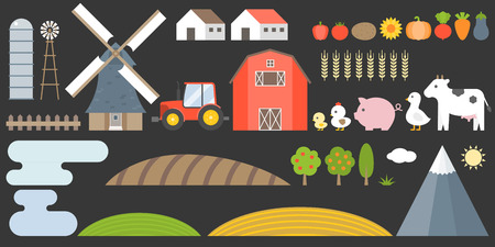 Design elements of farm and barn collection include animal, field, vegetable, tractor and construction, flat style vector illustration